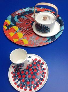 Marimekko : Spring 2015 Home Collection designed by Kustaa Saksi Marimekko, Coral Design, Set Design, Ceramic Tableware, Motif Floral, Typography Prints, Home Collections, Scandinavian Style, Home Decor Items