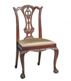 Mahogany Finish Chippendale Dining Side Chair