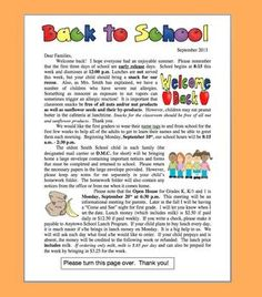 BACK TO SCHOOL WELCOME LETTER FIRST DAY WITH POLICIES AND SCHEDULES INFORMATION - TeachersPayTeachers.com