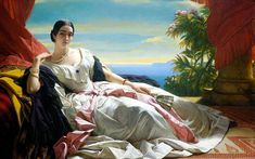 Portrait of Leonilla, Princess of Sayn-Wittgenstein-Sayn by Franz Xaver Winterhalter (1843) The Getty Center Los Angeles. In a daring pose reminiscent of harem scenes and odalisques, the Princess Leonilla reclines on a low Turkish sofa on a veranda overlooking a lush tropical landscape.