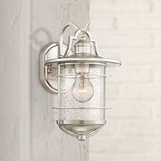 Casa Mirada High Brushed Nickel Outdoor Wall Light - Lamps Plus Open Box Outlet Site Vintage Bathroom Lighting, Bathroom Light Fixtures, Bathroom Faucets, Kitchen Lighting, Bathroom Vintage, Bathroom Hooks, Bathroom Ideas, Outdoor Wall Lighting, Exterior Lighting