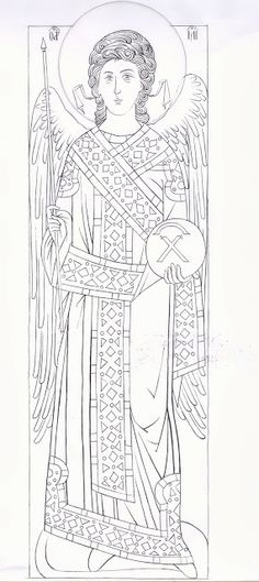 Archangel Gabriel from Decani Monastery. Byzantine Icons, Byzantine Art, Coloring Books, Coloring Pages, Black And White Sketches, Book Of Hours, Learn Art, Painting Process, Orthodox Icons