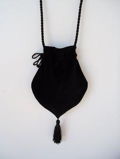 Black Velvet Victorian Style  Drawstring Bag Black Velvet Bag  Evening Bag  Tasseled Bag  Steampunk Bag. $25,00, via Etsy.