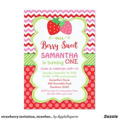 Shop strawberry invitation, strawberry birthday invite created by ApplePaperie. Personalize it with photos & text or purchase as is! 1st Birthday Invitations, Zazzle Invitations, Birthday Cards, Invitation Cards, Girl First Birthday, First Birthday Parties, Birthday Ideas, Happy Birthday, Black And Gold Invitations