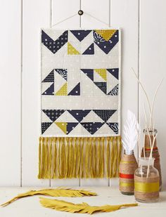Tasselled Wall Hanging by Karen Lewis of Blueberry Park for Issue 14 of Love Patchwork & Quilting magazine