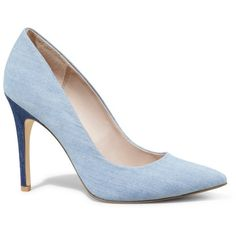 Express Denim Pointed Toe Runway Pump (385 ARS) ❤ liked on Polyvore featuring shoes, pumps, heels, denim, sexy heels shoes, pointy-toe pumps, pointed-toe pumps, heels & pumps and pointed toe shoes