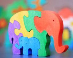 Wooden Elephants Puzzle. Handmade kids door ArtGiftStoreEcoToys