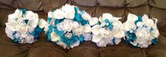 """All The Bridesmaid's, Maid Of Honor Had 8"""" Bouquets And My Daughter's Was 11"""", I Purchased These, All The Men's The Boutineers, Mothers & Grandmother's Corsages & The Flower Girl Corsages Through www.wedideas.com BUT I Did Have To Add My Own """"Bling/PINS"""" To The Corsages & Boutineers & Toss Bouquet, ONLY The Attendants & Bride's Bouquets Came With All The Brooches, Diamond Pins, Bling! ;)"""