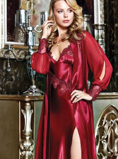 Batista 830 6 Pcs Satin Robe Set will make you redefine comfort when you wear this cozy and stylish set. Satin Lingerie, Pretty Lingerie, Bridal Lingerie, Beautiful Lingerie, Pyjama Satin, Satin Sleepwear, Wedding Night Lingerie, Night Dress For Women, Satin Blouses