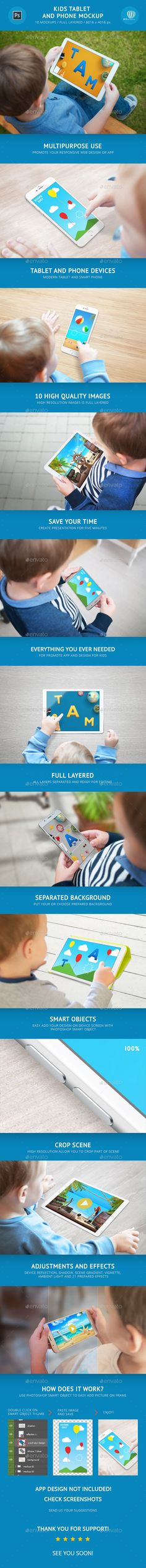 Kids Tablet and Phone Mockup — Photoshop PSD #smartphone #mock-up • Available here → https://graphicriver.net/item/kids-tablet-and-phone-mockup/20618695?ref=pxcr