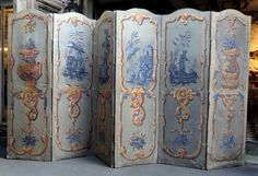Screen with six feuiles to chinoiserie decoration. Oil on canvas Louis XV, XVIII century Dimensions of a sheet: L x H Decorative Screens, Room Dividers, Chinoiserie, Oil On Canvas, Diy Ideas, Shabby Chic, Design, Wardrobes, Panel Room Divider