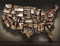 US (48 state) map bookshelf. Should make AK and HI too. Would be fun visually. :)
