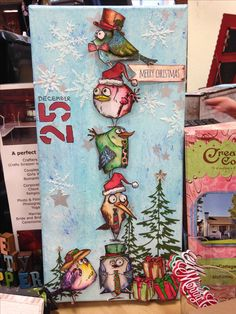Made by Carolyn Ross at The Crafty Scrapper in Waxahachie, Texas December, 2015 Christmas Canvas, Christmas Bird, Crazy Bird, Crazy Cats, Crazy Animals, Cat Cards, Bird Cards, Winter Karten, Tim Holtz Stamps