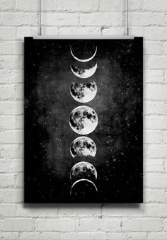 Moon Poster,Full Moon,Moon Art With Moon Phases