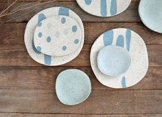 Inlaid coloured clay plates by Susan Simonini