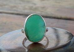 Chrysoprase ring Sterling silver ring natural oval gemstone seafoam aqua stone