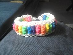 """WRAPPED BRIDGE? bracelet. Designed and loomed by Tina Caldwell Wood on the Rainbow Loom. Tina said: """"Basically its a Bridge but with 4 bands wrapped 4 times around each bridge."""" (Rainbow Loom FB page)"""