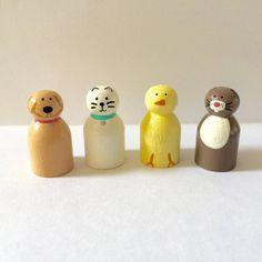 Animal peg doll set bunny peg cat peg chick by Createandplay