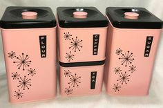 Vintage 50s Mid Century Pink Black Lincoln Beautyware Set Canisters Starburst