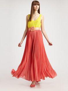 Alice + Olivia - Leila Pleated Maxi Dress - Saks.com  #SaksLLTrip