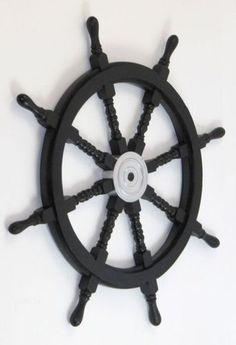 "36"" Wood Chrome Ships Wheel Wooden Helm Captain Pirate Nautical Maritime | eBay"