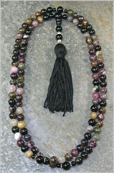 8mm Tourmaline Gemstone Buddhist Mala Prayer Beads - 108 Beads $55.00