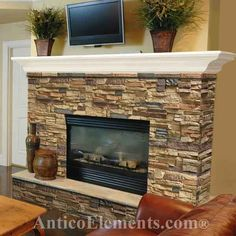 Faux Stone Panels, Faux Brick For Fireplace Design Ideas Stone Veneer Fireplace, Stone Fireplace Designs, Stone Fireplace Makeover, Stacked Stone Fireplaces, Fireplace Update, Rock Fireplaces, Home Fireplace, Fireplace Remodel, Fireplace Surrounds
