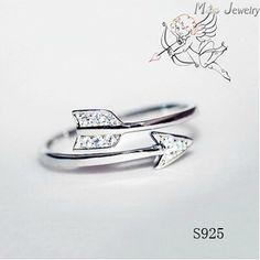 Nuovi arrivi 925 anelli d'argento per le donne ragazza gioielli freccia di cupido anelli di cristallo di zircon anelli registrabili