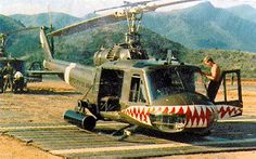 174th Assault Helicopter Company with P-40 Warhawk's sharks-mouth paint scheme, Vietnam War