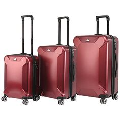 Triforce Oxford 3 Piece Burgundy Spinner Luggage Set ** This is an Amazon Affiliate link. Visit the image link more details.