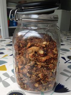 Grain, dairy and refined sugar free granola. It's crunchy and nutty and delicious. Perfect with fruit and coconut yogurt.