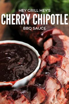 This Cherry Chipotle BBQ Sauce is everything you need in a good, homemade sauce. Rich and sweet, with a bright punch, and the most gorgeous red color you've ever seen from a BBQ sauce. Bbq Recipes Sides, Grilling Recipes, Cherry Sauce, Cherry Chipotle Bbq Sauce Recipe, Bbq Sauce Ingredients, Dips, Homemade Sauce, Homemade Bbq, Food Porn