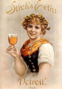 Lithograph: Stroh Brewery Co. Detroit History, American Beer, Beer Poster, Beer Girl, German Women, Boston Public Library, Beautiful Young Lady, Detroit Michigan, Vintage Advertisements
