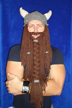 Build a man - with crochet! Hahahahaha!. Free pattern for beard...Viking hat pattern $$