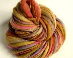 Thick and Thin yarn mustard yellows lilac orange and pinks Crochet Yarn, Knitting Yarn, Hand Knitting, Chunky Knit Yarn, Chunky Wool, Thick Yarn, Types Of Yarn, Hand Dyed Yarn, Wool Yarn
