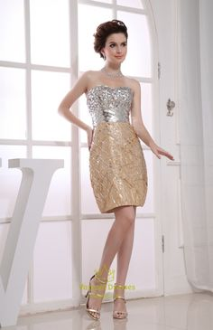 Vampal.com Offers High Quality Gold And Silver Sequin Prom Dress, Short Gold Sequin Homecoming Dress,Priced At Only USD USD $130.00 (Free Shipping)