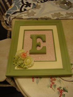 Framed Monogram Letter for Girls Nursery