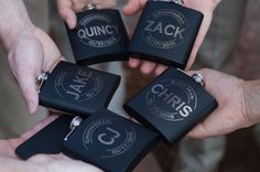 Flasks with Groomsmen's Names for Bridal Party Gifts - Rustic Navy and Yellow Wedding at Swor Cottage in Central Florida - Photo: Casie Marie Photography - Click pin for more photos www.orangeblossombride.com