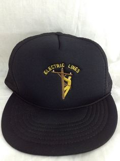 Electric Lines Embroidered Hat Line Worker Snapback Trucker Cap #unknown #Trucker