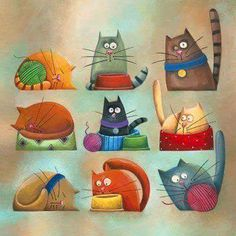 Carolina Farias - ilustradora - various cats. - I just think these cats are adorable! VFC : Carolina Farias - ilustradora - various cats. - I just think these cats are adorable! I Love Cats, Crazy Cats, Cool Cats, Silly Cats, Funny Cats, Gatos Cool, Photo Chat, Cat Quilt, Cat Colors