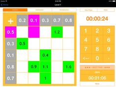 Kids Math Grids - Decimals A great app for 7 - 12 year old kids to practice the basic math skills of Addition, Subtraction, Multiplication and Division with decimal numbers and help them improve their mental calculation accuracy and speed. The questions are presented in a grid format (5X5 cells) with unlimited number of combinations and multiple levels The app uses a randomly generated sequence to pick the cells to answer allowing the kids to find it engaging and interesting. Timer 2MB