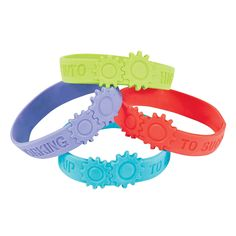 Gear up for the school year and add these motivational rubber bracelets to your classroom supplies! They're fun, easy student gifts that give students a . Student Gifts, Teacher Gifts, Maker Fun Factory Vbs, Build A Better World, Summer Reading Program, Rubber Bracelets, Classroom Supplies, Vacation Bible School, Atv Parts