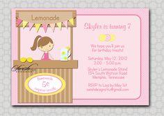 Lemonade Stand Birthday Invitation - lemon pink lemonade sunshine Printable Birthday Invite - 5x7 digital file. $15.00, via Etsy.