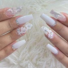 Long Nails - Uñas largas long white nails with flowers # long nails nails Purple Acrylic Nails, Summer Acrylic Nails, Best Acrylic Nails, Pink Nails, 3d Flower Nails, Sassy Nails, Nails Design With Rhinestones, Cute Acrylic Nail Designs, Bride Nails