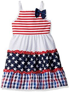 068c7b977cc Youngland Girls  Americana Stars and Stripes Mixed Seersucker Sundress