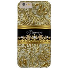 Elegant Gold Black Silver Damask Barely There iPhone 6 Plus Case
