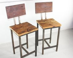 Rustic Reclaimed Wood Pine Bar Stools With Hand Welded Steel Base - Set of 2