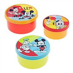 Mickey Mouse and Friends Food Container Set - Summer Fun | Disney Store Turns out three into one does go when it comes to this Mickey Mouse and Friends Food Container Set. Donald, Daisy, and Minnie join Mickey on these three colorful stack and store containers from our Summer Fun Collection.