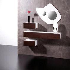 Mueble recibidor de tres módulos en blanco y madera
