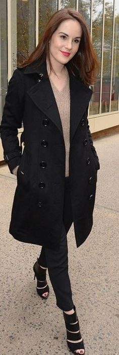 Who made Michelle Dockery's black coat?